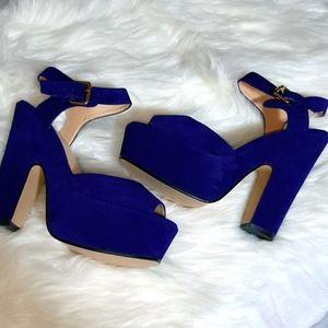 Blue Velour Platform Heels